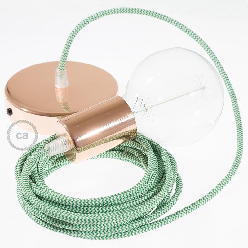Κρεμαστό Φωτιστικό, Κρεμαστή Λάμπα με Ψαροκόκκαλο ΠράσινοΥφασμάτινο Καλώδιο RZ06