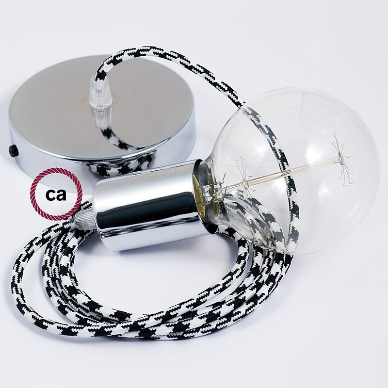 Κρεμαστό Φωτιστικό, Κρεμαστή Λάμπα με Δίχρωμο Μαύρο Υφασμάτινο Καλώδιο RP04