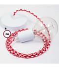 Κρεμαστό Φωτιστικό, Κρεμαστή Λάμπα με Δίχρωμο Κόκκινο Υφασμάτινο Καλώδιο RP09