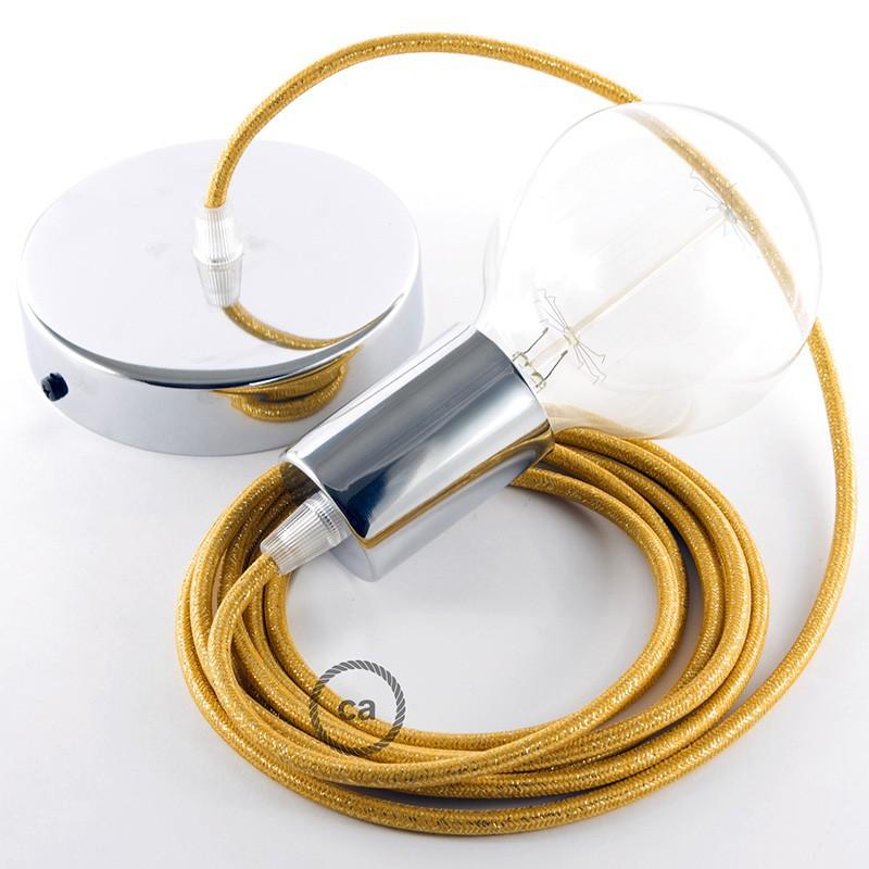 Κρεμαστό Φωτιστικό, Κρεμαστή Λάμπα με Χρυσό Glitter Υφασμάτινο Καλώδιο RL05