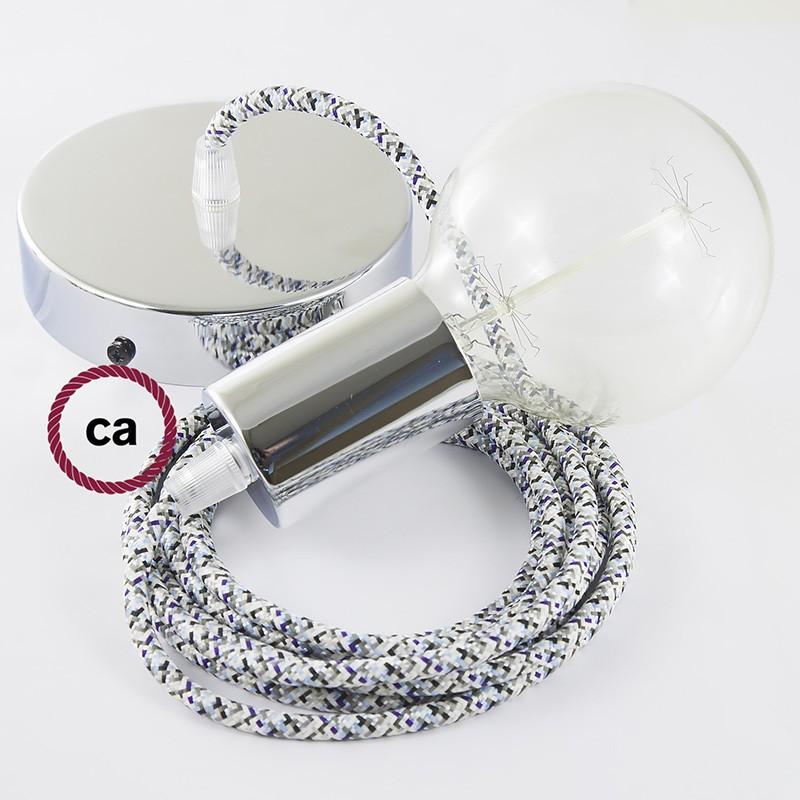Κρεμαστό Φωτιστικό, Κρεμαστή Λάμπα με Λευκό Πάγου Pixel Υφασμάτινο Καλώδιο RX04