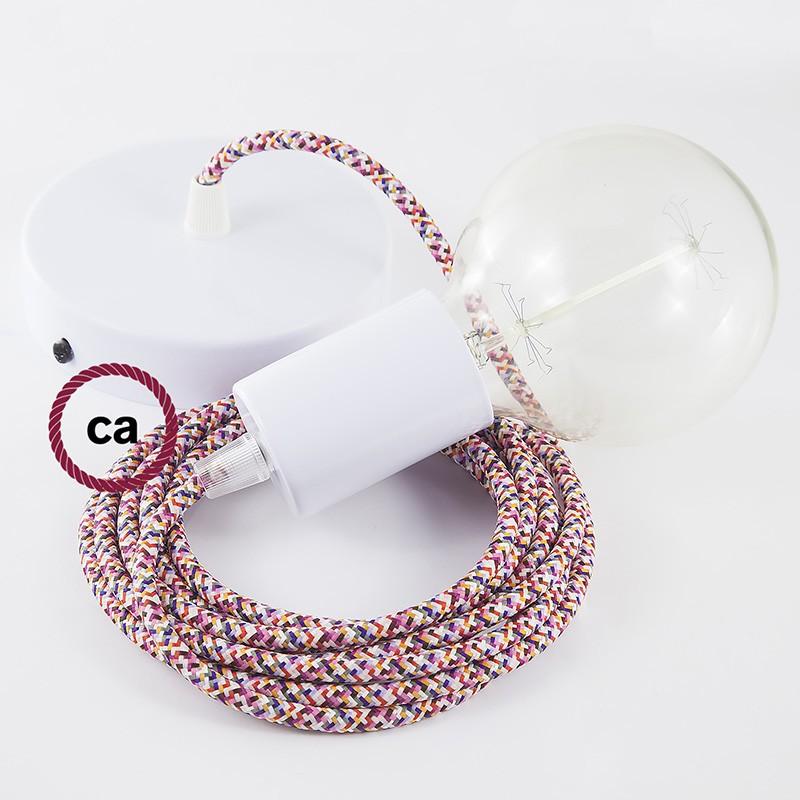 Κρεμαστό Φωτιστικό, Κρεμαστή Λάμπα με Pixel Φούξια Υφασμάτινο Καλώδιο RX00