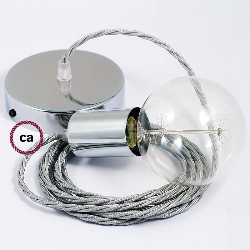 Κρεμαστό Φωτιστικό, Κρεμαστή Λάμπα με Στριφτό Ασημί Υφασμάτινο Καλώδιο TM02
