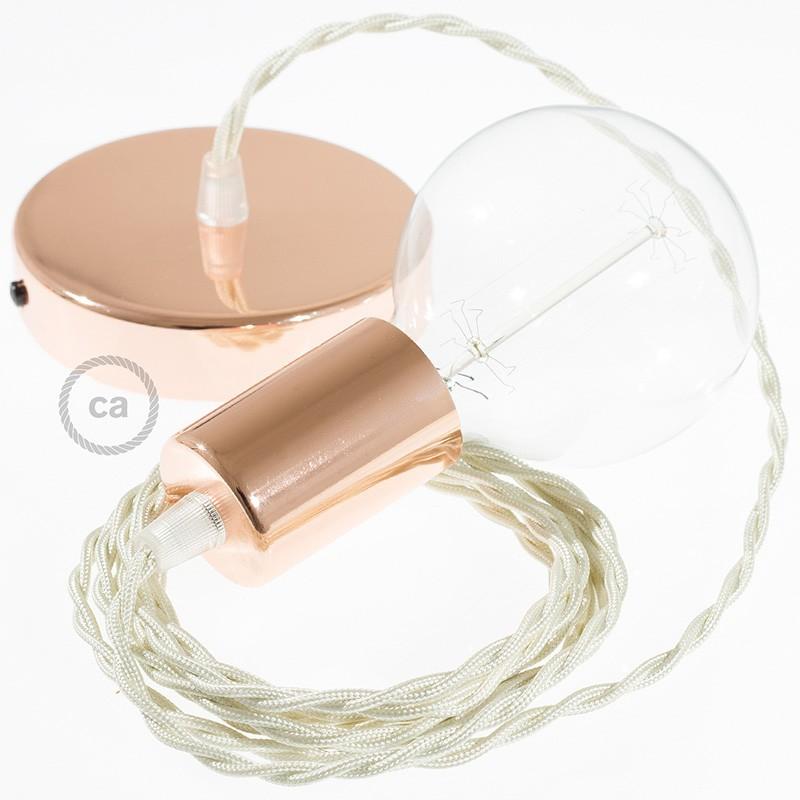 Κρεμαστό Φωτιστικό, Κρεμαστή Λάμπα με Στριφτό Ιβουάρ Υφασμάτινο Καλώδιο TM00