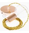 Κρεμαστό Φωτιστικό, Κρεμαστή Λάμπα με Στριφτό Χρυσό Υφασμάτινο Καλώδιο TM05