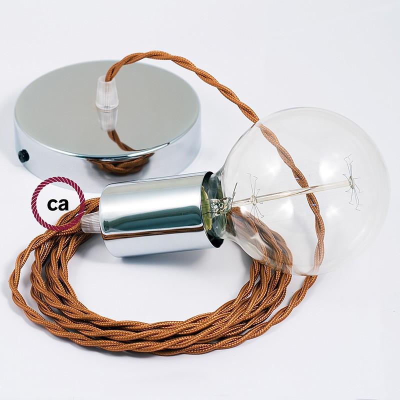 Κρεμαστό Φωτιστικό, Κρεμαστή Λάμπα με Στριφτό Χάλκινο Υφασμάτινο Καλώδιο TM22