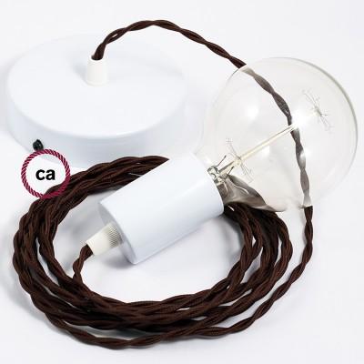 Κρεμαστό Φωτιστικό, Κρεμαστή Λάμπα με Στριφτό Καφέ Υφασμάτινο Καλώδιο TM13
