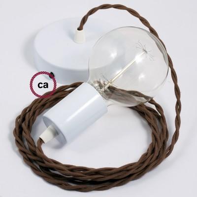 Κρεμαστό Φωτιστικό, Κρεμαστή Λάμπα με Στριφτό Καφέ Υφασμάτινο Καλώδιο Βαμβάκι TC13