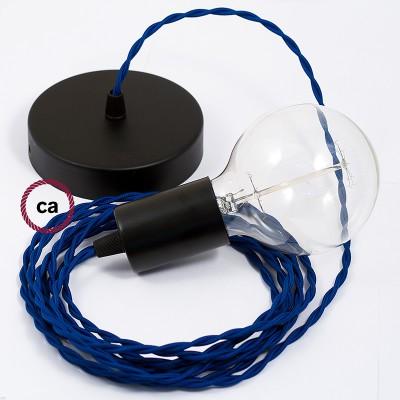 Κρεμαστό Φωτιστικό, Κρεμαστή Λάμπα με Στριφτό Μπλέ Υφασμάτινο Καλώδιο TM12