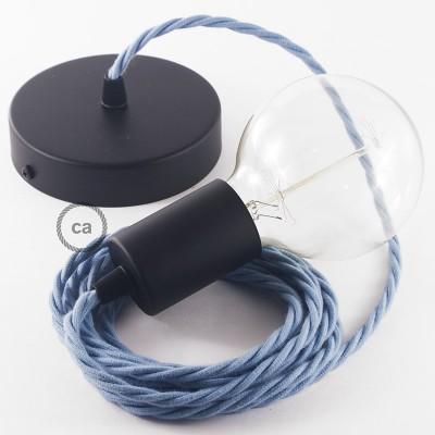 Κρεμαστό Φωτιστικό, Κρεμαστή Λάμπα με Στριφτό Θαλασσί Υφασμάτινο Καλώδιο Βαμβάκι TC53