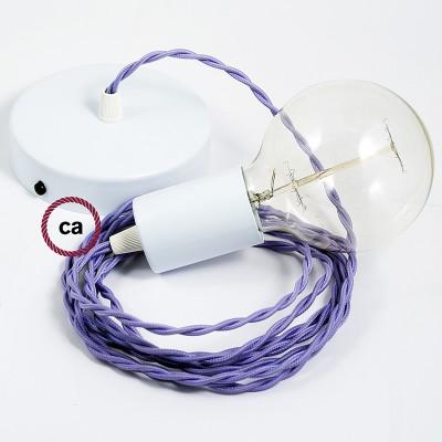 Κρεμαστό Φωτιστικό, Κρεμαστή Λάμπα με Στριφτό Λιλά Υφασμάτινο Καλώδιο TM07