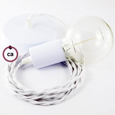 Κρεμαστό Φωτιστικό, Κρεμαστή Λάμπα με Στριφτό Λευκό Υφασμάτινο Καλώδιο Βαμβάκι TC01