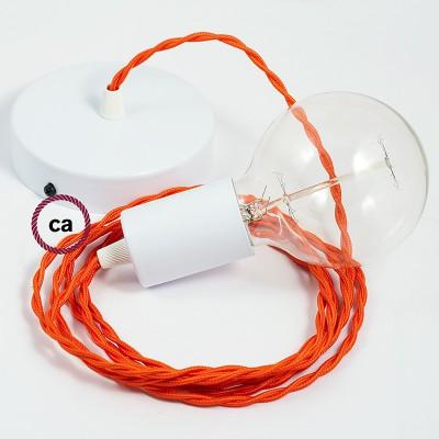 Κρεμαστό Φωτιστικό, Κρεμαστή Λάμπα με Στριφτό Πορτοκαλί Υφασμάτινο Καλώδιο TM15