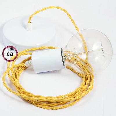 Κρεμαστό Φωτιστικό, Κρεμαστή Λάμπα με Στριφτό Κίτρινο Υφασμάτινο Καλώδιο TM10