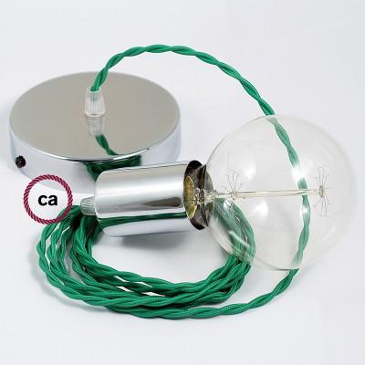 Κρεμαστό Φωτιστικό, Κρεμαστή Λάμπα με Στριφτό Πράσινο Υφασμάτινο Καλώδιο TM06