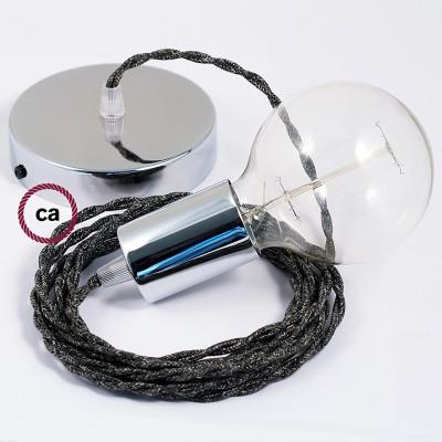 Κρεμαστό Φωτιστικό, Κρεμαστή Λάμπα με Στριφτό Ανθρακί Λινό Υφασμάτινο Καλώδιο Βαμβάκι TN03
