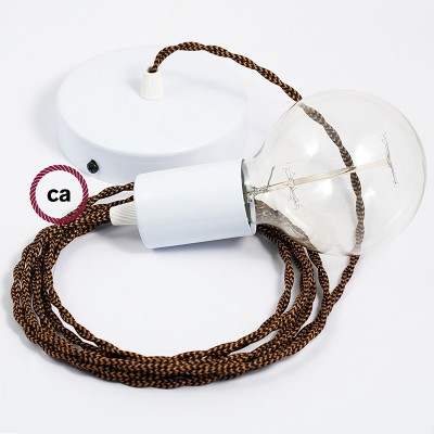 Κρεμαστό Φωτιστικό, Κρεμαστή Λάμπα με Στριφτό Χάλκινο Μαύρο Υφασμάτινο Καλώδιο ΤΖ22