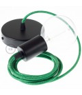 Κρεμαστό Φωτιστικό, Κρεμαστή Λάμπα με Πράσινο Glitter Υφασμάτινο Καλώδιο RL06