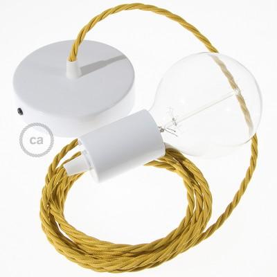 Κρεμαστό Φωτιστικό, Κρεμαστή Λάμπα με Στριφτό Μουσταρδί Υφασμάτινο Καλώδιο Βαμβάκι TM25