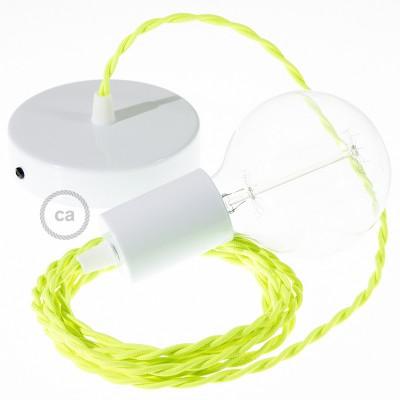 Κρεμαστό Φωτιστικό, Κρεμαστή Λάμπα με Στριφτό Κίτρινο Fluo Υφασμάτινο Καλώδιο ΤF10