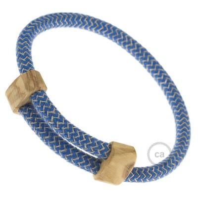 Βραχιόλι Creative από Γαλάζιο Βαμβάκι Ψαροκόκκαλο και Φυσικό Λινό RD75. Ξύλινοι σφικτήρες στήριξης. Made in Italy.
