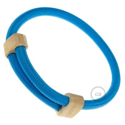 Βραχιόλι Creative από Μπλε Ύφασμα RM11. Ξύλινοι σφικτήρες στήριξης. Made in Italy.