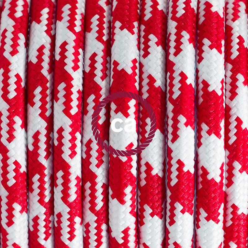 Καλωδίωση πορτατίφ με Υφασμάτινο Καλώδιο RP09 Δίχρωμο Λευκό-Κόκκινο - 1.80 m. Με ενδιάμεσο διακοπτάκι και φις.