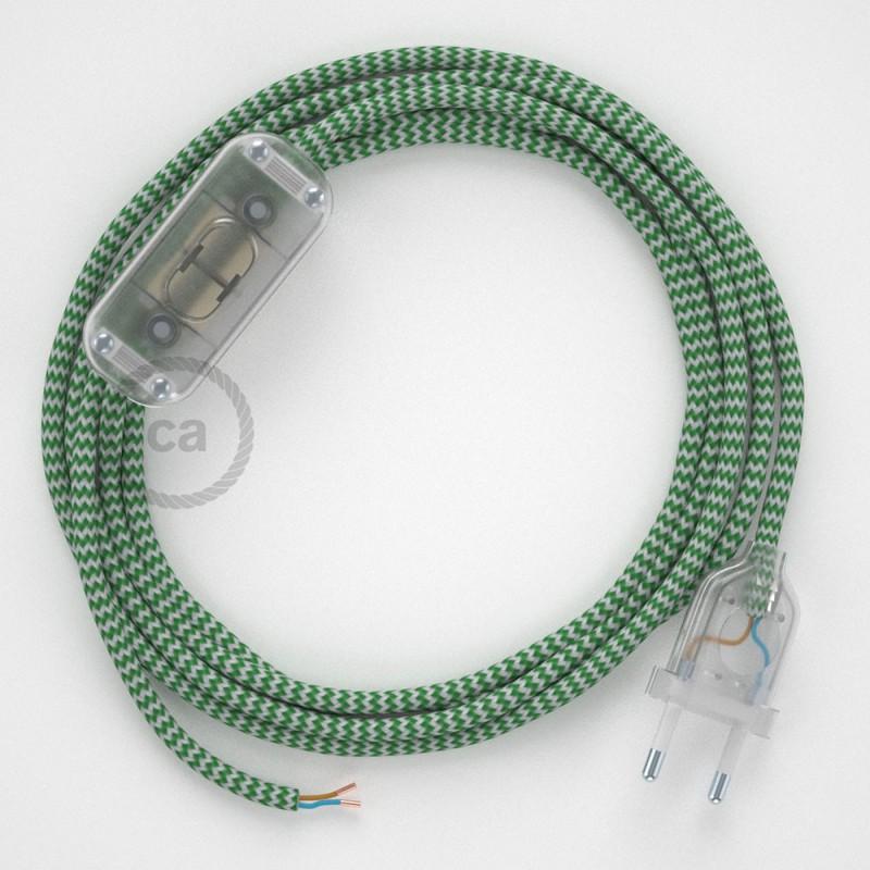 Καλωδίωση πορτατίφ με Υφασμάτινο Καλώδιο RZ06 Zig Zag Λαχανί - 1.80 m. Με ενδιάμεσο διακοπτάκι και φις.