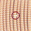 Καλωδίωση πορτατίφ με Υφασμάτινο Καλώδιο RZ15 Zig Zag Άσπρο-Πορτοκαλί - 1.80 m. Με ενδιάμεσο διακοπτάκι και φις.