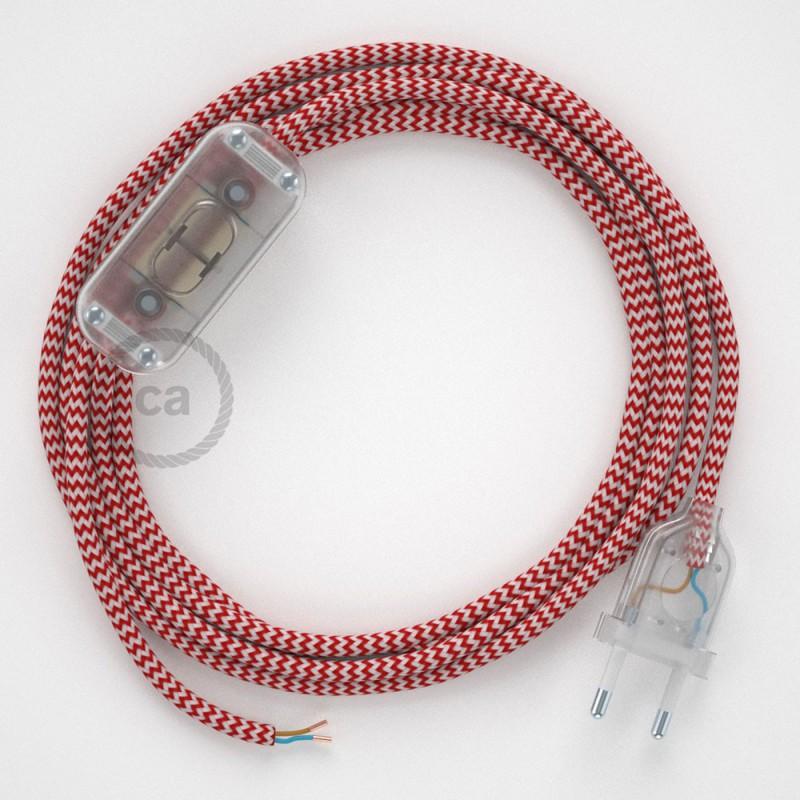 Καλωδίωση πορτατίφ με Υφασμάτινο Καλώδιο RZ09 Zig Zag Άσπρο-Κόκκινο - 1.80 m. Με ενδιάμεσο διακοπτάκι και φις.