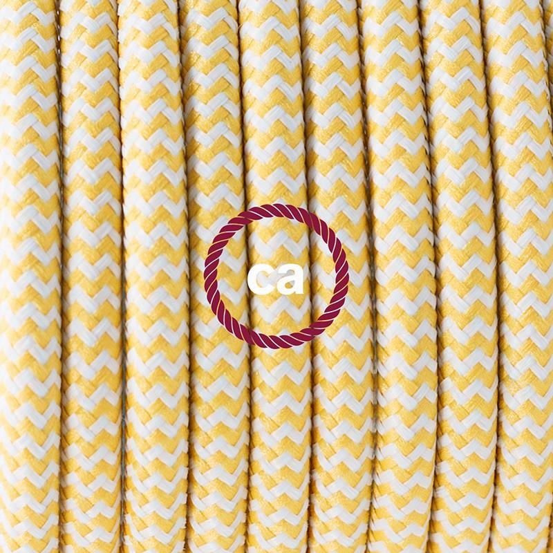 Καλωδίωση πορτατίφ με Υφασμάτινο Καλώδιο RZ10 Zig Zag Άσπρο-Κίτρινο - 1.80 m. Με ενδιάμεσο διακοπτάκι και φις.