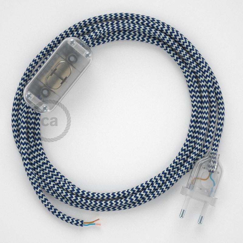Καλωδίωση πορτατίφ με Υφασμάτινο Καλώδιο RZ12 Zig Zag Άσπρο-Μπλε - 1.80 m. Με ενδιάμεσο διακοπτάκι και φις.