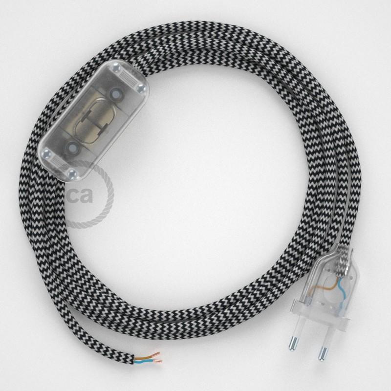Καλωδίωση πορτατίφ με Υφασμάτινο Καλώδιο RZ04 Zig Zag Άσπρο-Μαύρο - 1.80 m. Με ενδιάμεσο διακοπτάκι και φις.