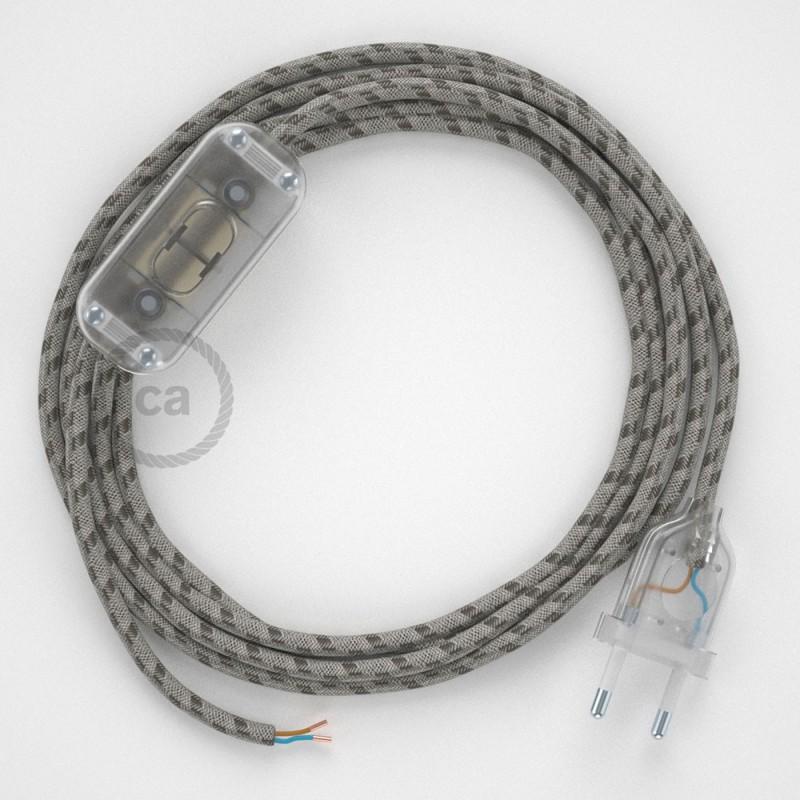 Καλωδίωση πορτατίφ με Υφασμάτινο Καλώδιο RD53 Stripes μπεζ λινό και καφέ βαμβάκι - 1.80 m. Με ενδιάμεσο διακοπτάκι και φις.