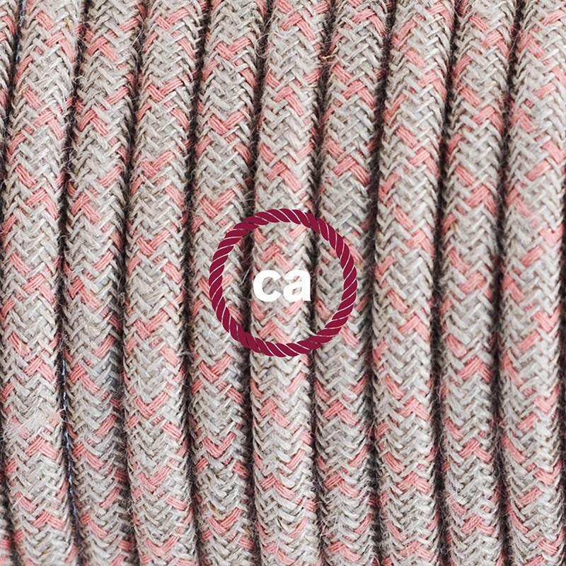 Υφασματινο καλώδιο πορτατίφ Lozenge μπεζ λινό και ροζ βαμβάκι RD61 - 1.80 m.