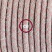 Καλωδίωση πορτατίφ με Υφασμάτινο Καλώδιο Lozenge μπεζ λινό και ροζ βαμβάκι RD61 - 1.80 m. Με ενδιάμεσο διακοπτάκι και φις.