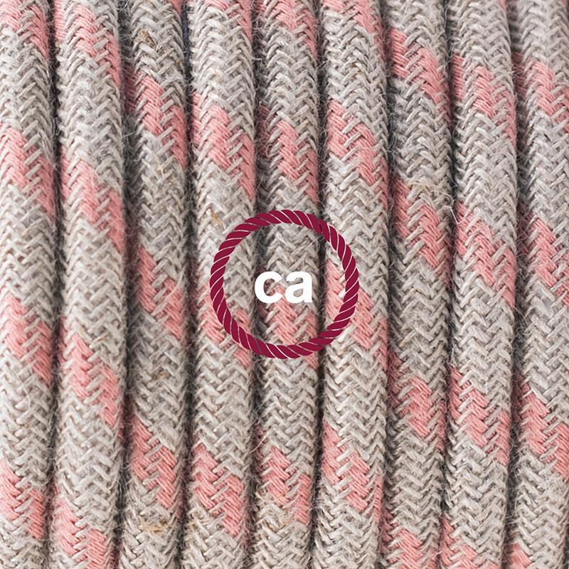 Καλωδίωση πορτατίφ με Υφασμάτινο Καλώδιο Stripes μπεζ λινό και ροζ βαμβάκι RD51 - 1.80 m. Με ενδιάμεσο διακοπτάκι και φις.