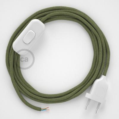 Υφασματινο καλώδιο πορτατίφ Zig Zag μπεζ λινό και πράσινο βαμβάκι RD72 - 1.80 m.