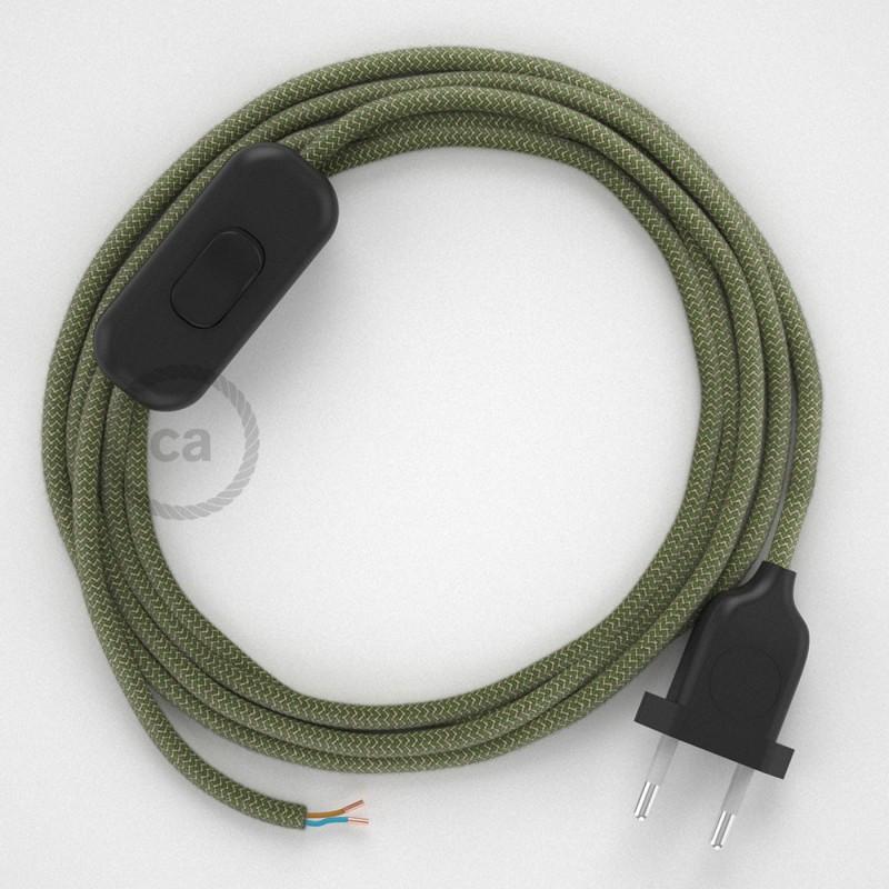 Καλωδίωση πορτατίφ με Υφασμάτινο Καλώδιο Zig Zag μπεζ λινό και πράσινο βαμβάκι RD72 - 1.80 m. Με ενδιάμεσο διακοπτάκι και φις.