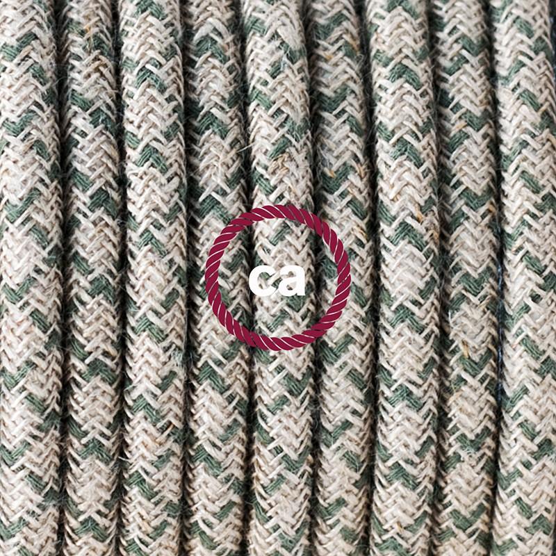 Καλωδίωση πορτατίφ με Υφασμάτινο Καλώδιο Lozenge μπεζ λινό και πράσινο βαμβάκι RD62 - 1.80 m. Με ενδιάμεσο διακοπτάκι και φις.