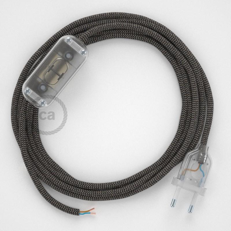 Καλωδίωση πορτατίφ με Υφασμάτινο Καλώδιο Zig Zag μπεζ λινό και ανθρακί βαμβάκι RD74 - 1.80 m. Με ενδιάμεσο διακοπτάκι και φις.