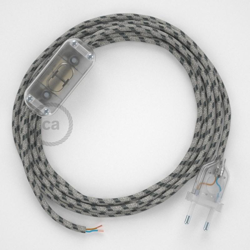 Καλωδίωση πορτατίφ με Υφασμάτινο Καλώδιο Stripes μπεζ λινό και ανθρακί βαμβάκι RD54 - 1.80 m. Με ενδιάμεσο διακοπτάκι και φις.