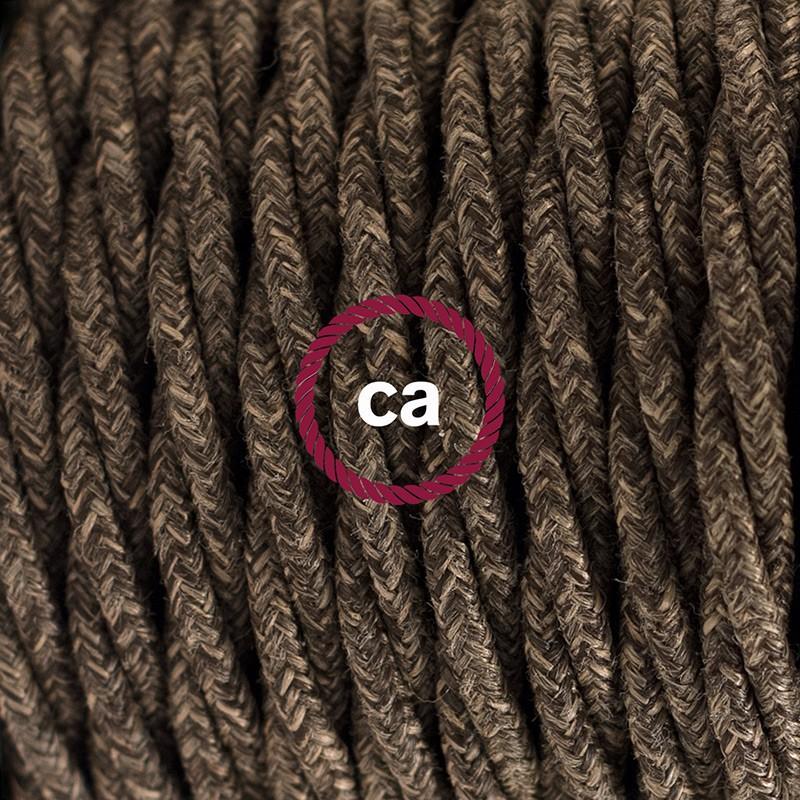 Στριφτό Υφασμάτινο Καλώδιο, Φυσικό Καφέ Μάλλινο TN04 - 1.80 m.