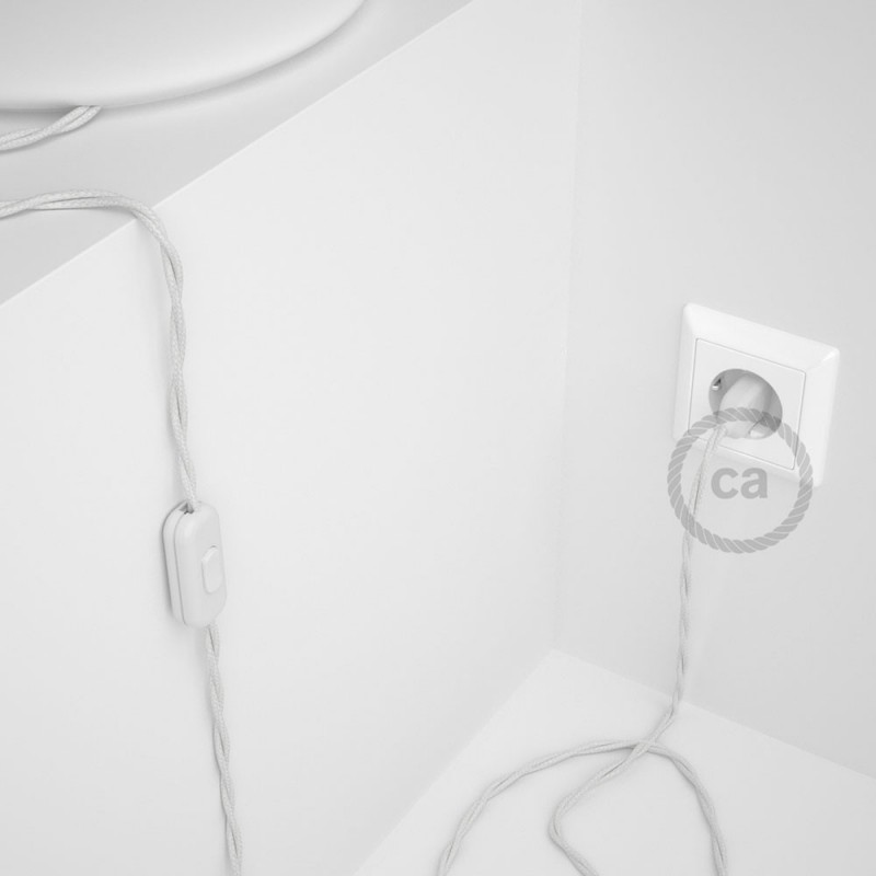 Καλωδίωση πορτατίφ με Στριφτό Υφασμάτινο Καλώδιο TC01 Λευκό Βαμβάκι - 1.80 m. Με ενδιάμεσο διακοπτάκι και φις.