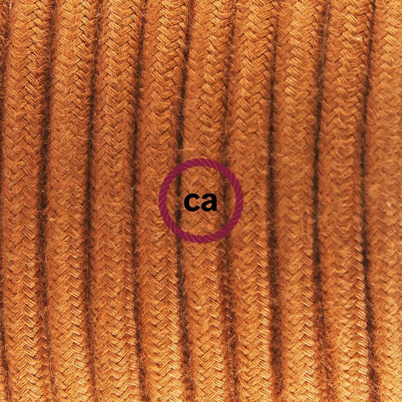 Καλωδίωση πορτατίφ με Υφασμάτινο Καλώδιο RC23 Καφέ Ανοιχτό Βαμβάκι - 1.80 m. Με ενδιάμεσο διακοπτάκι και φις.
