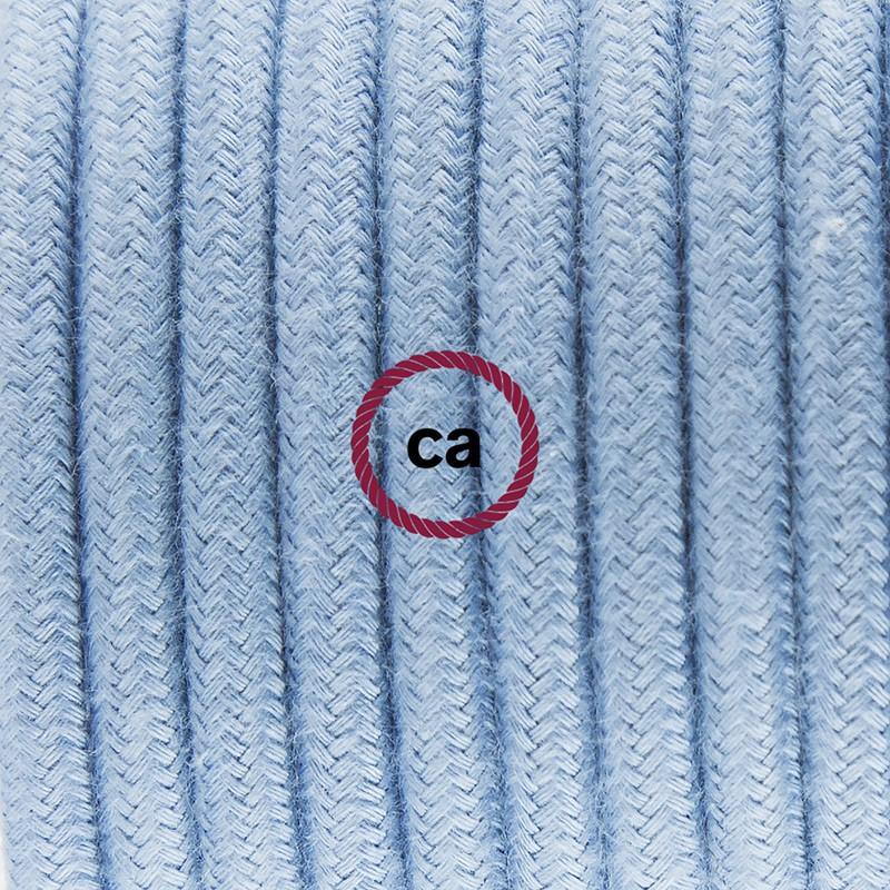 Καλωδίωση πορτατίφ με Υφασμάτινο Καλώδιο RC53 Φυσικό Γαλάζιο - 1.80 m. Με ενδιάμεσο διακοπτάκι και φις.