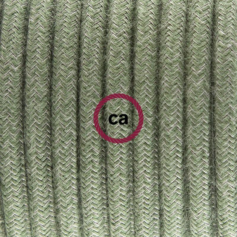 Καλωδίωση πορτατίφ με Υφασμάτινο Καλώδιο RC63 Λαδί - 1.80 m. Με ενδιάμεσο διακοπτάκι και φις.