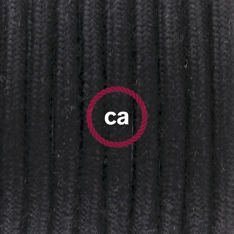 Καλωδίωση πορτατίφ με Υφασμάτινο Καλώδιο RC04 Μαύρο - 1.80 m. Με ενδιάμεσο διακοπτάκι και φις.