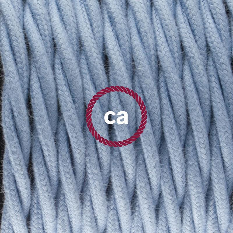 Καλωδίωση πορτατίφ με Στριφτό Υφασμάτινο Καλώδιο TC53 Φυσικό Γαλάζιο - 1.80 m. Με ενδιάμεσο διακοπτάκι και φις.