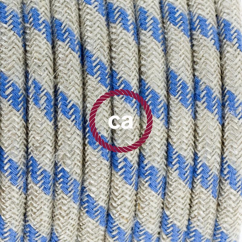 Καλωδίωση πορτατίφ με Υφασμάτινο Καλώδιο Stripes μπεζ λινό και μπλε βαμβάκι RD55 - 1.80 m. Με ενδιάμεσο διακοπτάκι και φις.